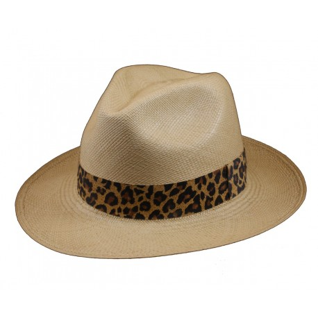 Panama Clásico Beige Banda Cuero Leopardo