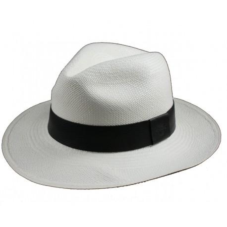 Panama Blanco Banda Cuero Negro