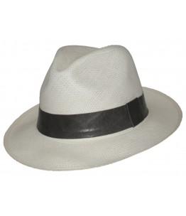 White Panama Grey Leather Band