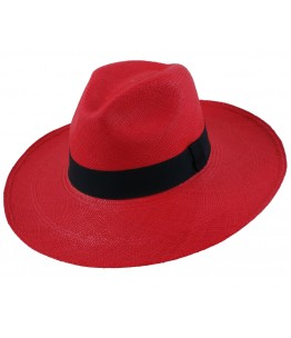 Red Panama Long Brim