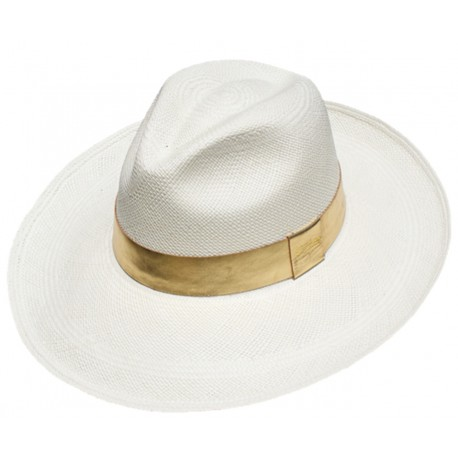 cfc64a61522 Classic White Panama hat long brim with gold leather band