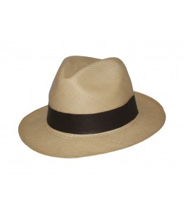 Classic Panama Hat - Beige - Leather band