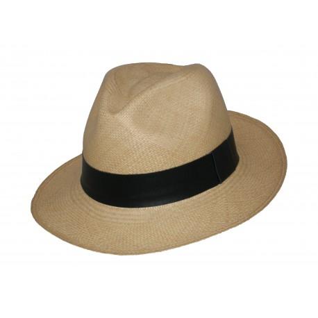 Sombrero Panama Clásico Beige con Banda en Cuero