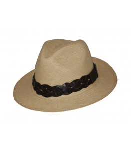 Classic Panama Hat Braided Leather Band